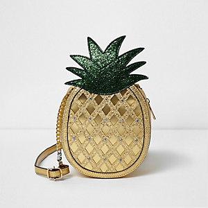 Sac bandoulière doré pailleté motif ananas pour fille
