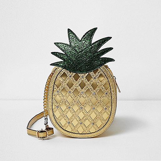 Girls gold glitter pineapple cross body bag