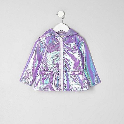 Mini girls purple iridescent rain jacket