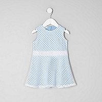 Mini girls light blue mesh sleeveless dress