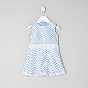 Mini girls light blue mesh sleeveless dress