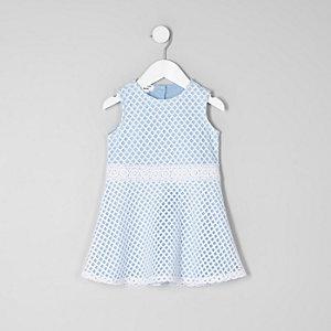 Mini - Lichtblauwe mesh mouwloze jurk voor meisjes