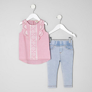 Mini girls pink stripe broderie top outfit