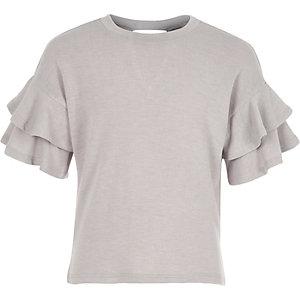 Girls grey knit double frill sleeve jumper