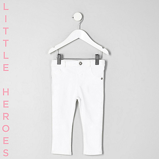 Mini girls white ripped Molly skinny jeans