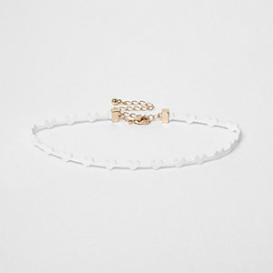 Girls white heart choker