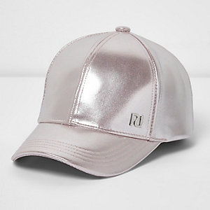 Girls pink metallic baseball cap