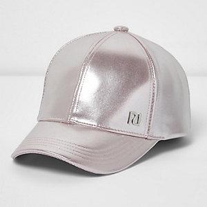 Girls pink metallic baseball cap