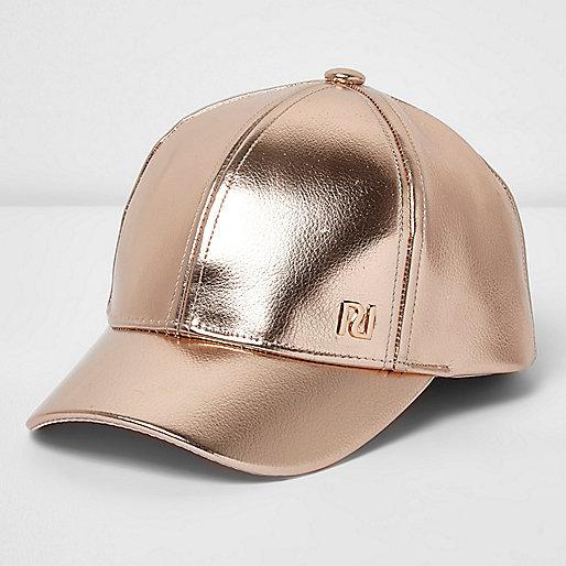 Girls pink rose gold cap