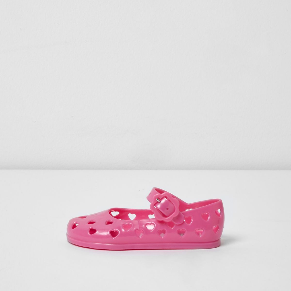 Mini girls pink heart jelly shoes
