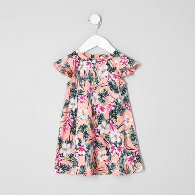 Mini Roze jurk met tropische print en ruches voor meisjes