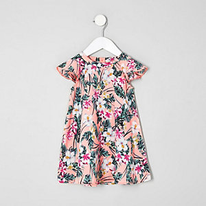 Mini - Roze jurk met tropische print en ruches voor meisjes
