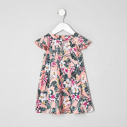 Mini girls pink tropical frill dress