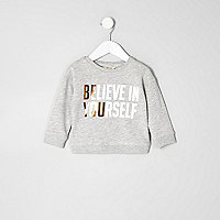 Mini girls grey metallic print sweatshirt