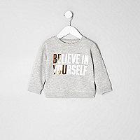 Sweatshirt mit Print in Grau-Metallic