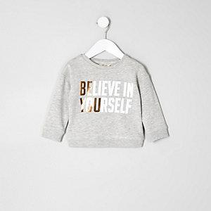 Mini girls grey metallic print sweatshirt