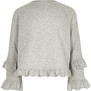 Girls grey double frill sleeve sweatshirt