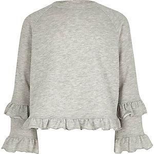 Girls grey double frill sleeve sweatshirt