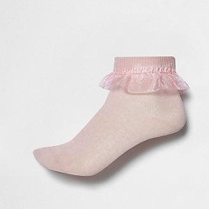 Girls pink organza frill socks