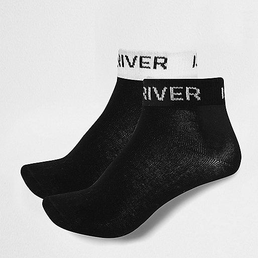 Girls black RI branded socks multipack