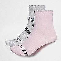Girls grey and pink unicorn socks pack