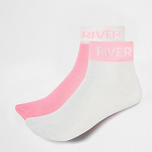 Girls pink RI branded socks multipack