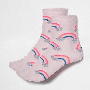 Lot de chaussettes roses à motif arc-en-ciel pour fille