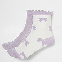 Girls purple lurex bow socks multipack