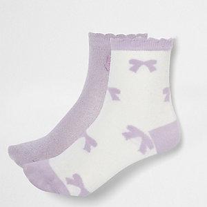 Lot de chaussettes en lurex violet avec nœuds fille
