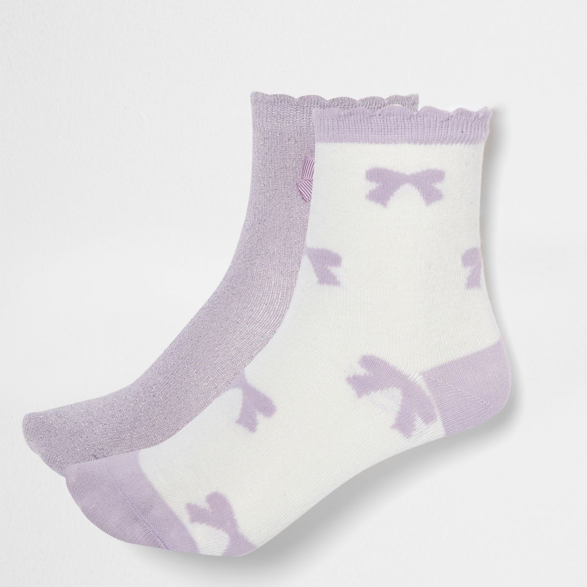 Girls purple glitter bow socks multipack