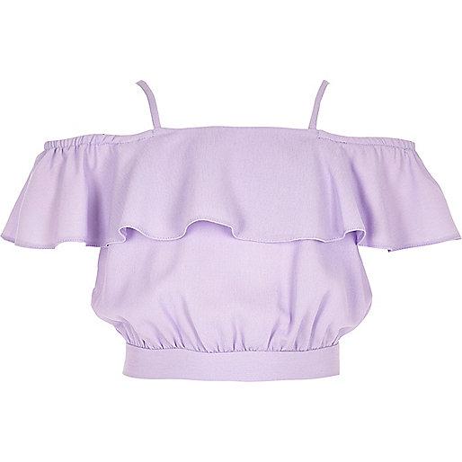 Girls purple frill bardot crop top
