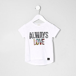 Mini girls white 'Always Love' print T-shirt