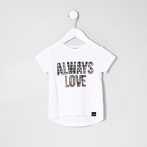 Mini girls white 'Always Love' print T-shirt