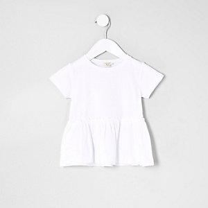 T-shirt blanc à ourlet péplum mini fille
