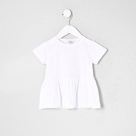 Mini girls white peplum hem T-shirt