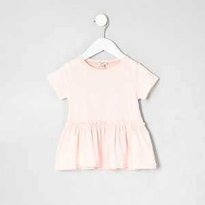Mini girls pink peplum hem T-shirt