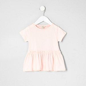 T-shirt rose à ourlet péplum mini fille