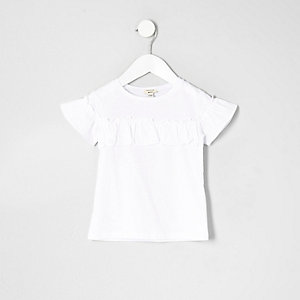 Mini girls frill sleeve T-shirt