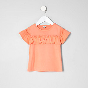 Mini girls coral frill sleeve T-shirt