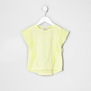 Mini girls yellow lace ruffle T-shirt