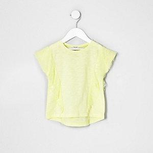 Mini - Geel T-shirt met kant en ruches voor meisjes