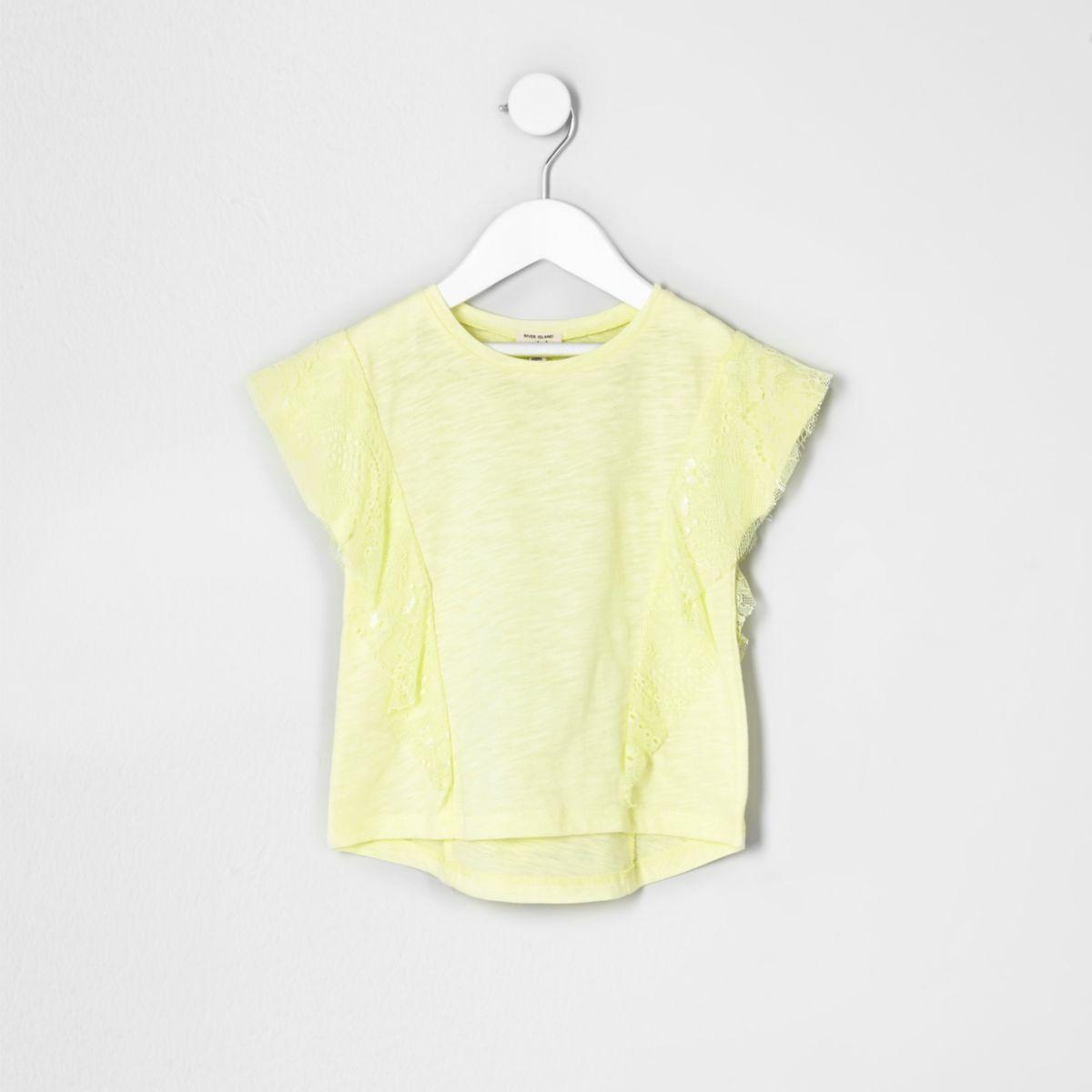 Mini girls yellow lace ruffle T-shirt