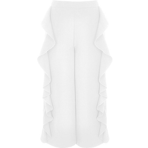 Girls white frill wide leg cropped trousers