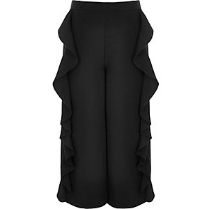 Girls black frill wide leg cropped trousers