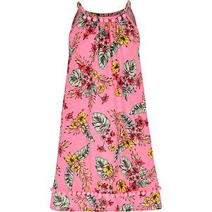 Roze A-lijnjurk met pompon en tropische print voor meisjes