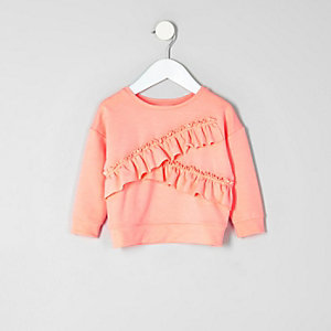 Mini girls coral ruffle sweatshirt