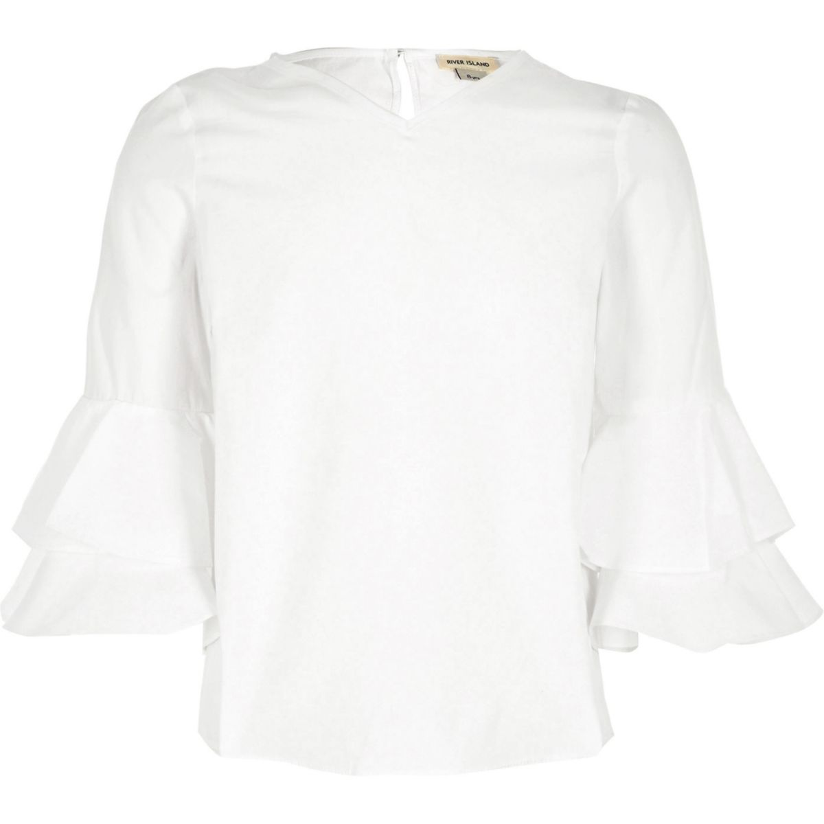 Girls cream double frill sleeve top