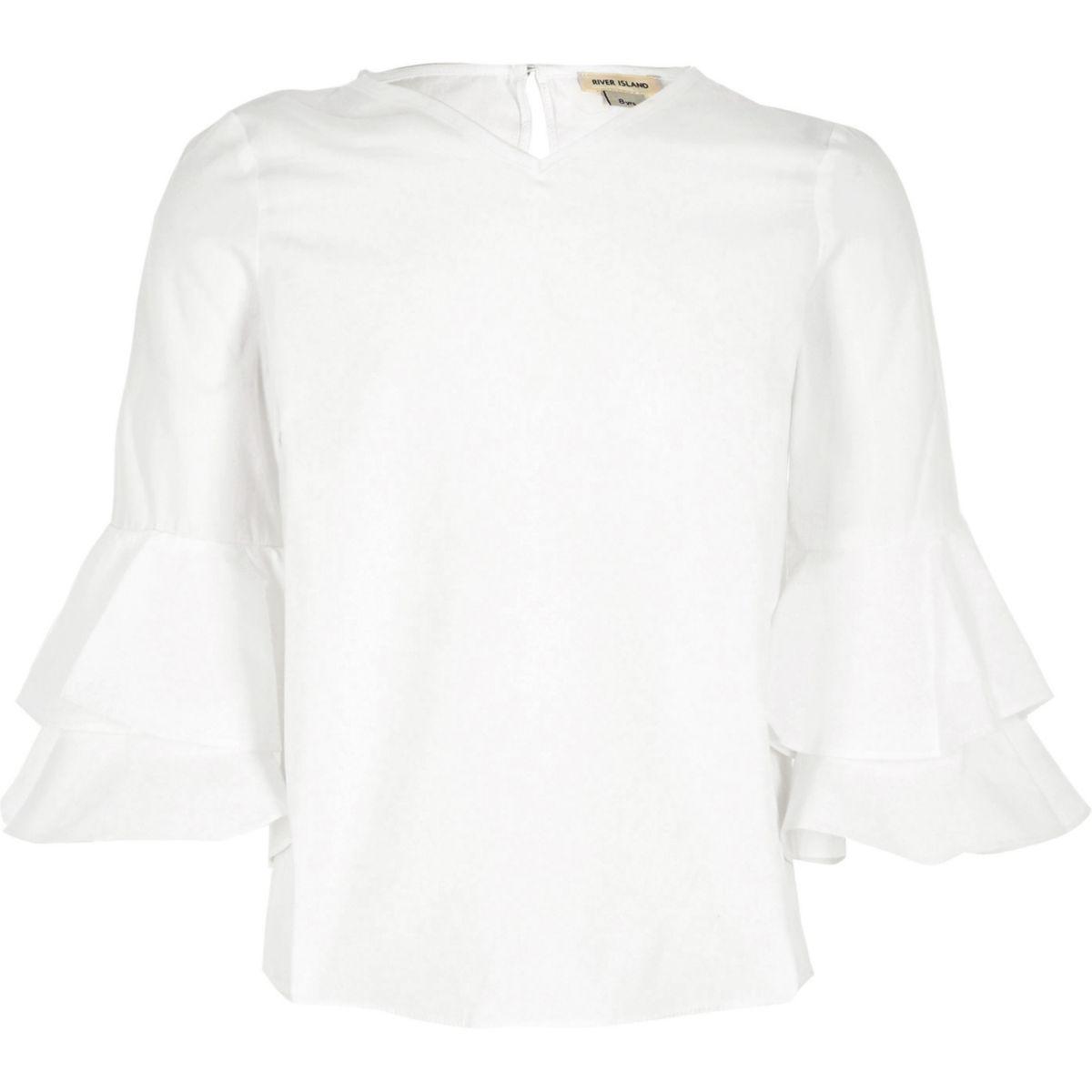 Girls cream double frill sleeve top