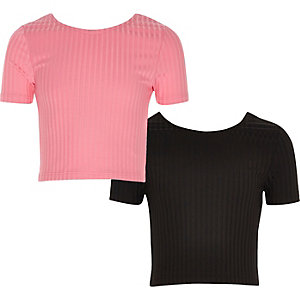Girls pink and black crop top pack