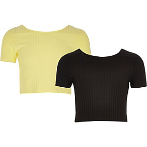 Girls yellow and black crop top pack